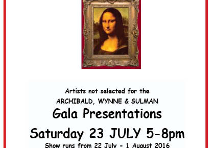 Not hung in the ARCHIBALD this year? Announcing the 20th Real Refuse' Gala Presentations SATURDAY 23rd JULY 5-8PM. Prizes to be won.