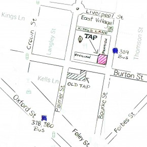 #MAP OF TAP. TAP is a hidden gem tucked away in the corner of REPUBLIC SQUARE, next to Phamish Restaurant, 248 Palmer St