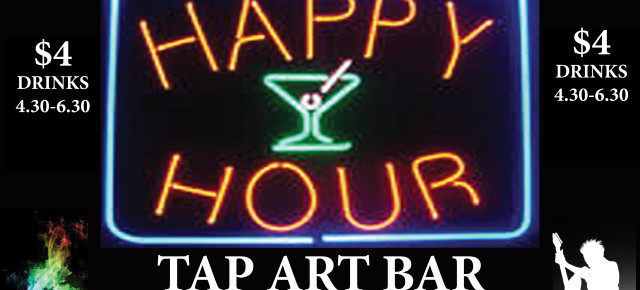 ANNOUNCING HAPPY HOUR FOR #ARTISTS &  #ART STUDENTS 4.30PM - 6.30PM MONDAY - FRIDAY