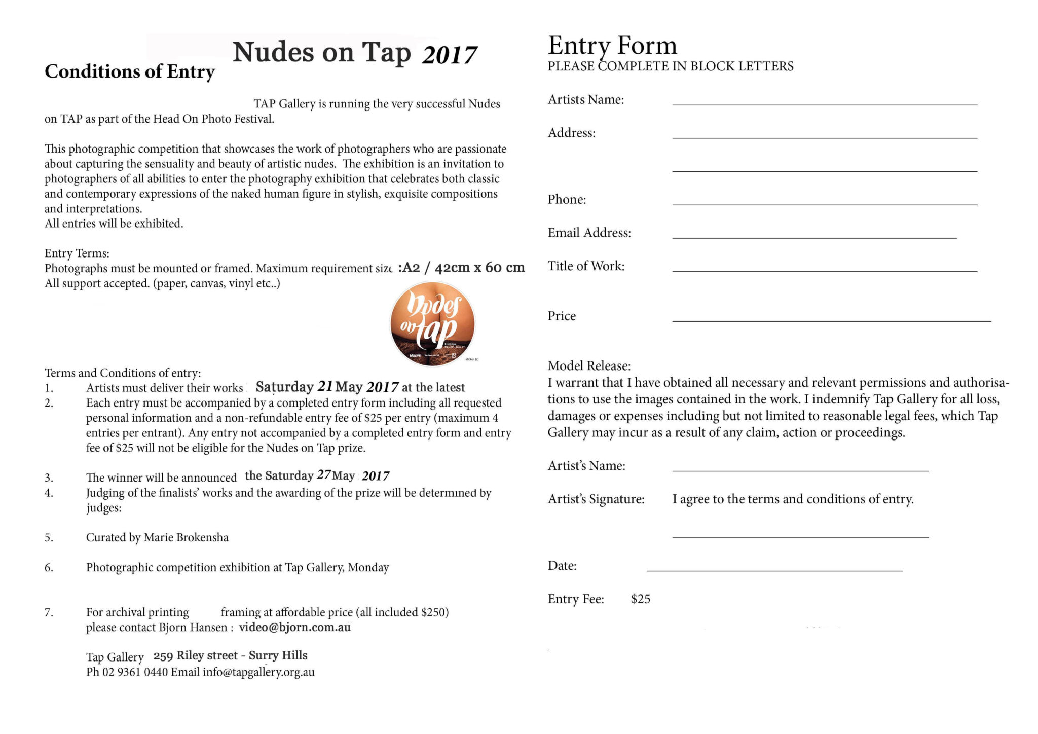 Nudes entry form 2017